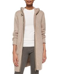 Brunello Cucinelli - Natural Monili-trim Cashmere Sweater Coat - Lyst