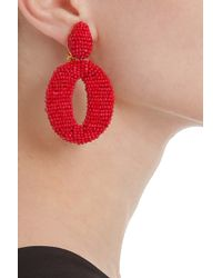 Oscar de la Renta | Red Oscar O Beaded Earrings | Lyst