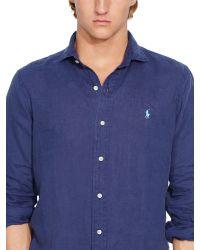 Polo Ralph Lauren | Blue Long Sleeve Linen Shirt for Men | Lyst