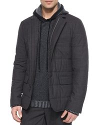 Vince | Black Quilted Zip-up Blazer | Lyst