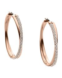 Michael Kors | Metallic Crisscross Pave Hoop Earrings | Lyst