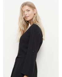 Violeta by Mango - Black Flowy Belt Dress - Lyst