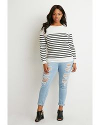 Forever 21 | Black Plus Size Classic Striped Sweater | Lyst