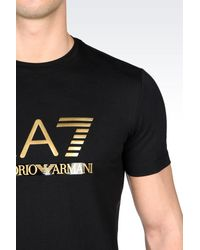 EA7 - Black T-shirt In Stretch Cotton Jersey for Men - Lyst
