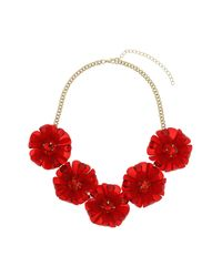 TOPSHOP - Large Red Flower Necklace - Lyst