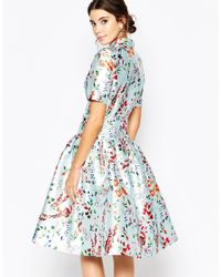 Chi Chi London | Blue Midi Dress On Sateen With Collar And Sleeves | Lyst
