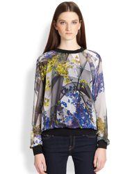Clover Canyon | Blue Space Garden Printed Chiffon Sweatshirt | Lyst