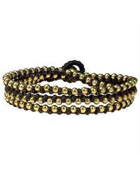 Aeravida | Metallic Triple Wrap Mini Brass Beads Single Strand Brown Cotton Rope Bracelet | Lyst
