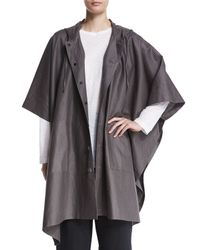Eskandar - Gray Hooded Button-front Raincoat Poncho - Lyst