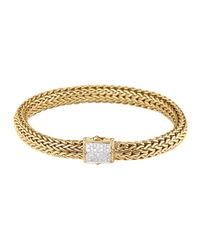 John Hardy | Metallic Classic Chain 18k Gold & Diamond Medium Bracelet | Lyst