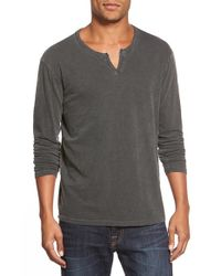 Lucky Brand | Gray Long Sleeve Notch Neck T-shirt for Men | Lyst