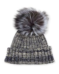 Adrienne Landau - Blue Heather Knit Beanie Hat W/fur Pom Pom - Lyst
