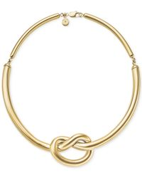 Michael Kors | Metallic Gold-Tone Knot Choker Necklace | Lyst