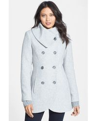 Jessica Simpson | Blue Double Breasted Basket Weave Coat | Lyst