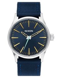 Nixon - Blue 'the Sentry' Nylon Strap Watch - Lyst