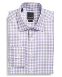 David Donahue - Purple Trim Fit Check Dress Shirt for Men - Lyst
