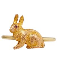 Annina Vogel | Metallic Gold Victorian Ruby Eyed Bunny Ring | Lyst