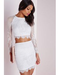 edbab75650224 Lyst - Missguided Long Sleeve Striped Lace Crop Top White in White