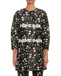 Giambattista Valli - Black Collarless Floral-Jacquard Jacket - Lyst