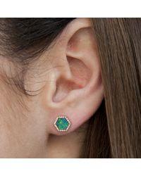Anne Sisteron - Blue 14kt Yellow Gold Opal Diamond Hexagon Stud Earrings - Lyst