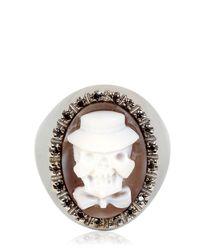 Amedeo - Black Memento Mori Skull Cameo Ring for Men - Lyst