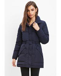 Forever 21 | Blue Drawstring-waist Puffer Jacket | Lyst
