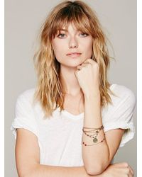 Free People - Pink Engraved Disc Layered Bracelet - Lyst