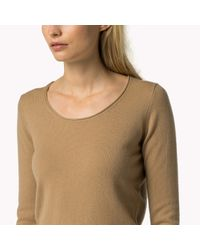 Tommy Hilfiger | Natural Wool Blend Scoop Neck Sweater | Lyst