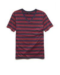 Forever 21 - Blue Multi-stripe V-neck Tee for Men - Lyst