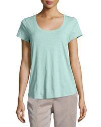Eileen Fisher | Green Slubby Short-sleeve Scoop-neck Tee | Lyst