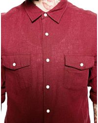 ASOS - Red Western Shirt In Linen Mix With Long Sleeves for Men - Lyst