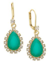kate spade new york | Green Gold-Tone Teardrop Crystal Leverback Drop Earrings | Lyst