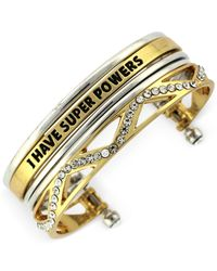 "BCBGeneration | Metallic Two-Tone ""I Have Super Powers"" Crystal Cutout Cuff Bracelet 