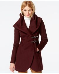 Ivanka Trump - Red Shawl-collar Asymmetrical Buckled Coat - Lyst