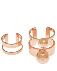 Joomi Lim - Pink Rose Gold-Plated Double Sphere Two Piece Ring - Lyst