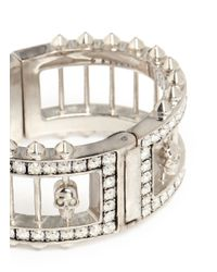 Alexander McQueen | Metallic Crystal Bar Skull Bangle | Lyst