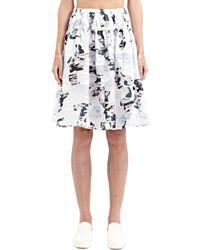 Jil Sander - Black Organza Pleated Skirt - Lyst