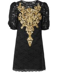 Dolce & Gabbana | Black Embroidered Lace Dress | Lyst