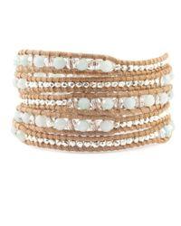 Chan Luu - Natural Amazonite Mix Wrap Bracelet On Beige Leather - Lyst