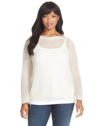 Eileen Fisher | White Mohair Blend Bateau Neck Sweater | Lyst