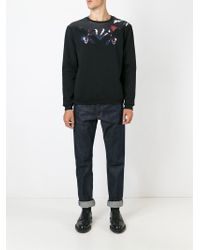 MSGM - Black Embroidered And Printed Sweatshirt for Men - Lyst