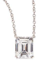 Fantasia by Deserio - Metallic 6.0 Carat Cubic Zirconia Emerald-Cut Pendant Necklace - Lyst