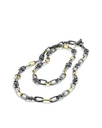David Yurman | Black & Gold Link Necklace | Lyst
