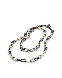 David Yurman - Black & Gold Link Necklace - Lyst