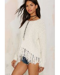 Nasty Gal - Natural You've Been Warmed Fringe Sweater - Lyst