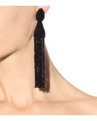 Oscar de la Renta - Black Tassel Clip-on Earrings - Lyst