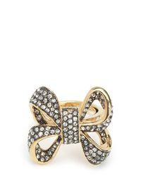 Juicy Couture | Metallic Oversize Pave Bow Ring | Lyst