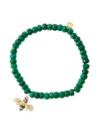 Sydney Evan   Green 6Mm Faceted Emerald Beaded Bracelet With 14K Gold/Diamond Bee Charm (Made To Order)   Lyst