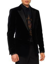 Dolce & Gabbana - Blue Velvet Evening Jacket With Satin Lapels for Men - Lyst