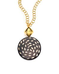 Nest | Black Spotted Horn Disc Long Pendant Necklace | Lyst